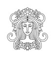 aries girl portrait zodiac sign for adult vector image vector image