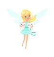 beautiful sweet smiling blonde tooth fairy girl vector image vector image