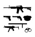 black silhouette police gun and equipment vector image vector image