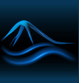 blue mountains glowing neon background vector image