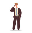 businessman is standing and talking on phone vector image