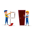 cartoon blumber service man worker set vector image