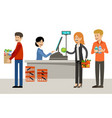 cash desk in a supermarket and people vector image vector image