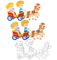 Children riding a pony vector image