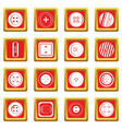 clothes button icons set red vector image vector image