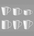 coffee mugs realistic white ceramic mug mockup vector image vector image