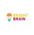 creative lamp bulb brain inside logo vector image vector image