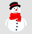 cute snowman for greeting card vector image vector image