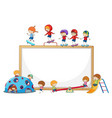 empty banner with many kids doodle cartoon