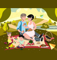 family on picnic vector image vector image