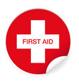 first aid label sticker vector image