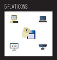 flat icon computer set of computer mouse computer vector image vector image
