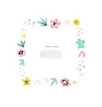 floral text frame flat hand drawn template vector image vector image