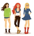 friendly girls vector image