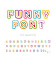funny 3d bright font modern cartoon abc letters vector image