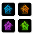 glowing neon dog house and paw print pet icon vector image