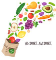 grocery paper bag vector image vector image