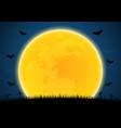 halloween graveyard bat moon vector image vector image