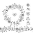 hand drawn doodle style rose flowers wreath vector image vector image