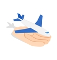 Hand holding plane icon isometric 3d style vector image vector image