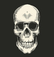 human skull drawn in retro etching style isolated vector image vector image