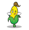 kissing sweet corn character cartoon vector image vector image