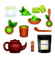 matcha tea realistic set vector image