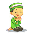 moslem boy praying dua vector image vector image