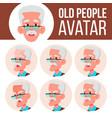 old man avatar set face emotions senior vector image vector image