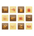online shop icons over brown background vector image vector image
