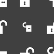 open lock icon sign Seamless pattern on a gray vector image