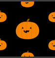 orange silhouette funny pumpkin seamless pattern vector image