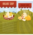 Organic shop banners with rural landscape vector image