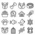 pets icons set on white background line style vector image vector image