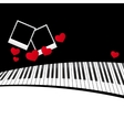 piano template with hearts vector image