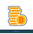 pile of bitcoin coins icon vector image vector image