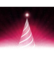 pink card with abstract tree rays of light and vector image