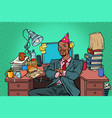 pop art african businessman birthday working vector image vector image