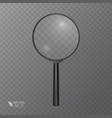 realistic magnifying glass in black on transparent vector image vector image