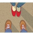 Relations young man vs woman standing vector image vector image