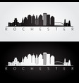 Rochester usa skyline and landmarks silhouette