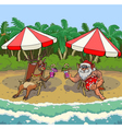 santa and reindeer on a tropical beach vector image vector image