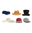 set male and female hats vector image vector image
