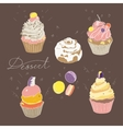 set of colored cakes on a dark brown background vector image vector image