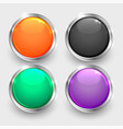 set shiny round glossy buttons vector image