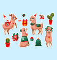 set stickers with new year llama vicuna animal vector image vector image
