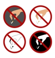 Set with hand throwing cigarette stub and stop vector image vector image