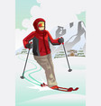 skier in the mountain vector image