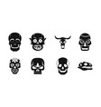 skull icon set simple style vector image vector image