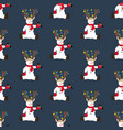 snowman in christmas costume seamless pattern vector image vector image